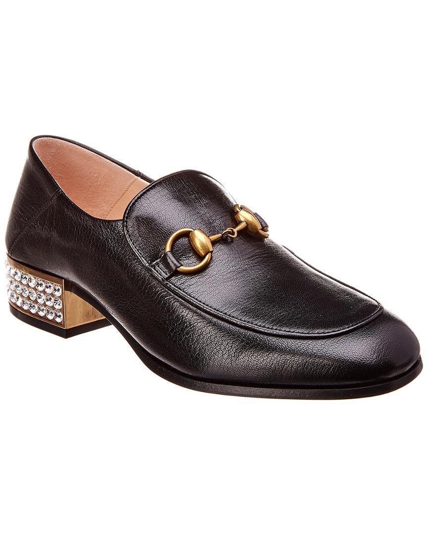 c3143cbd3c3 Lyst - Gucci Horsebit Crystal Embellished Leather Loafer in Black