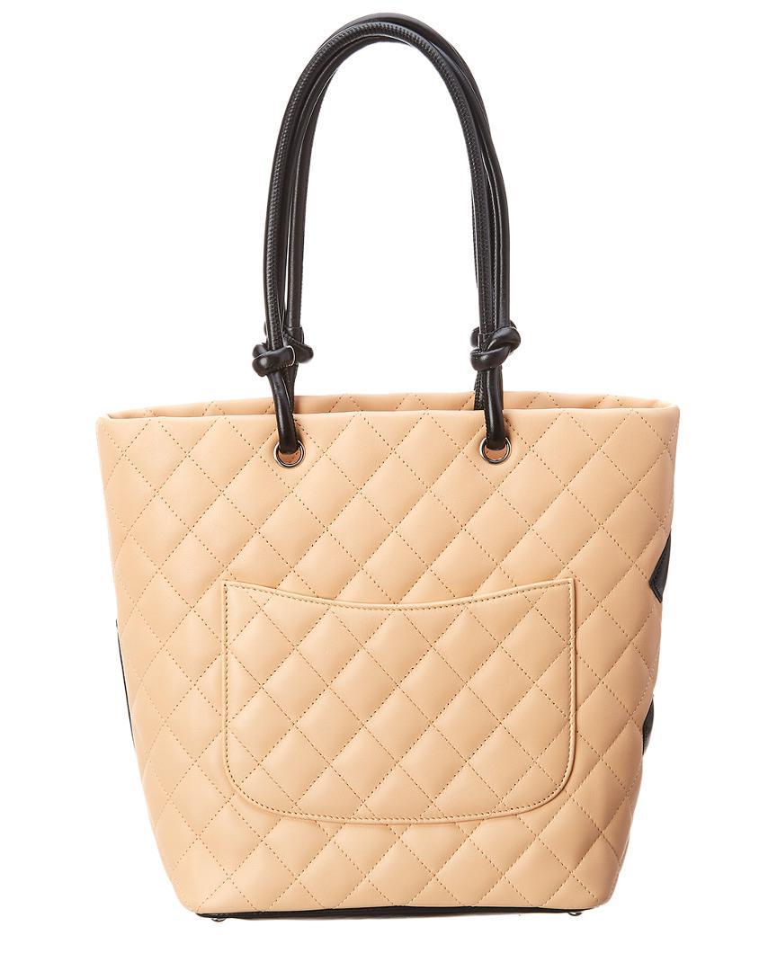 a54dcf7b88b0 Lyst - Chanel Beige Quilted Lambskin Leather Medium Cambon Tote in Natural