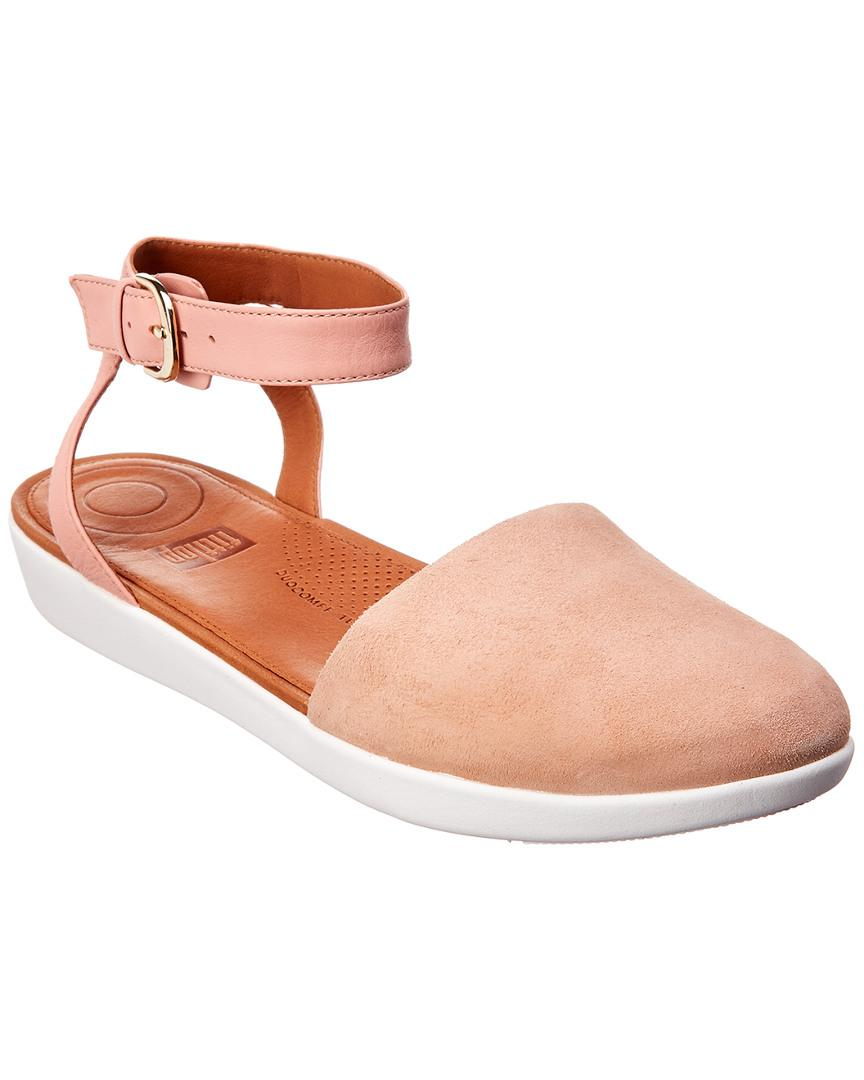 8cd852240 Fitflop Cova Closed Toe Suede Flat in Pink - Lyst