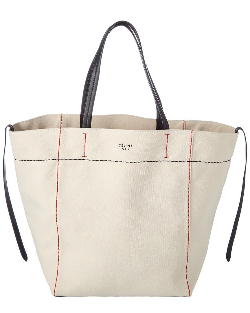 Lyst - Céline Medium Cabas Phantom Canvas Tote in White d6b7f3b42eee7