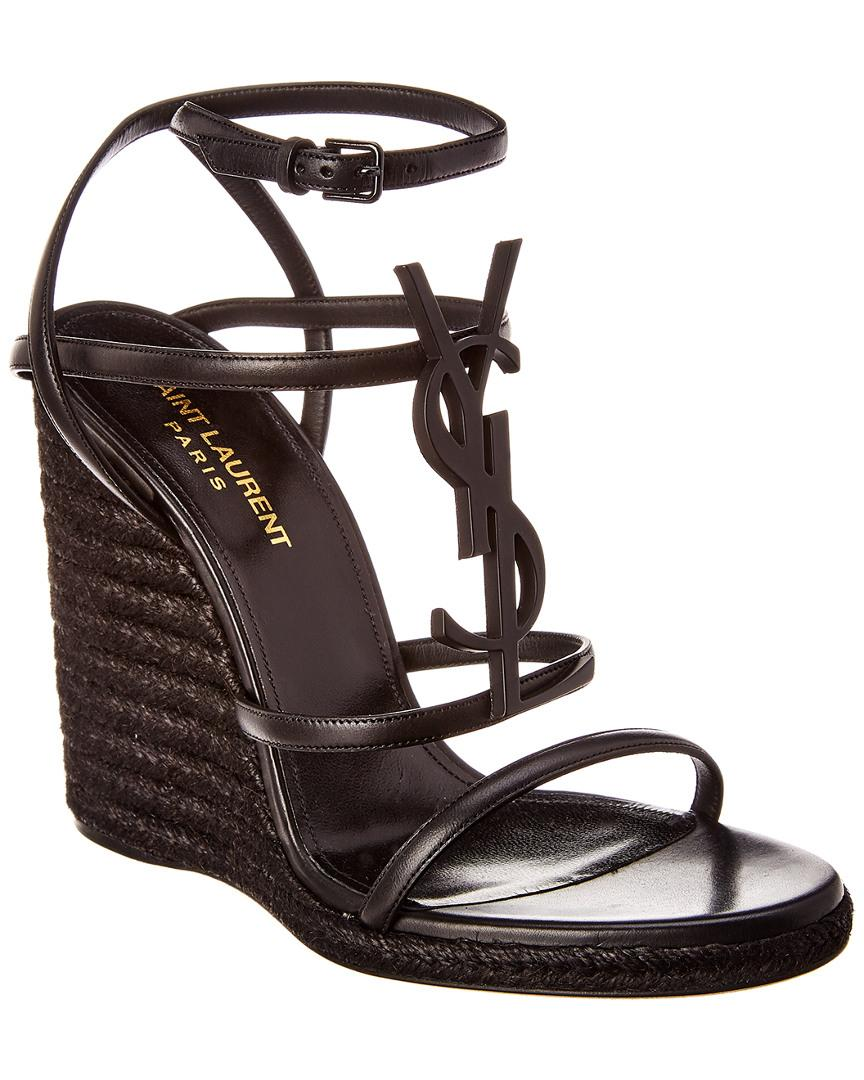 b18d3d0ba82 Saint Laurent Cassandra Leather Espadrille Wedge Sandal in Black - Lyst