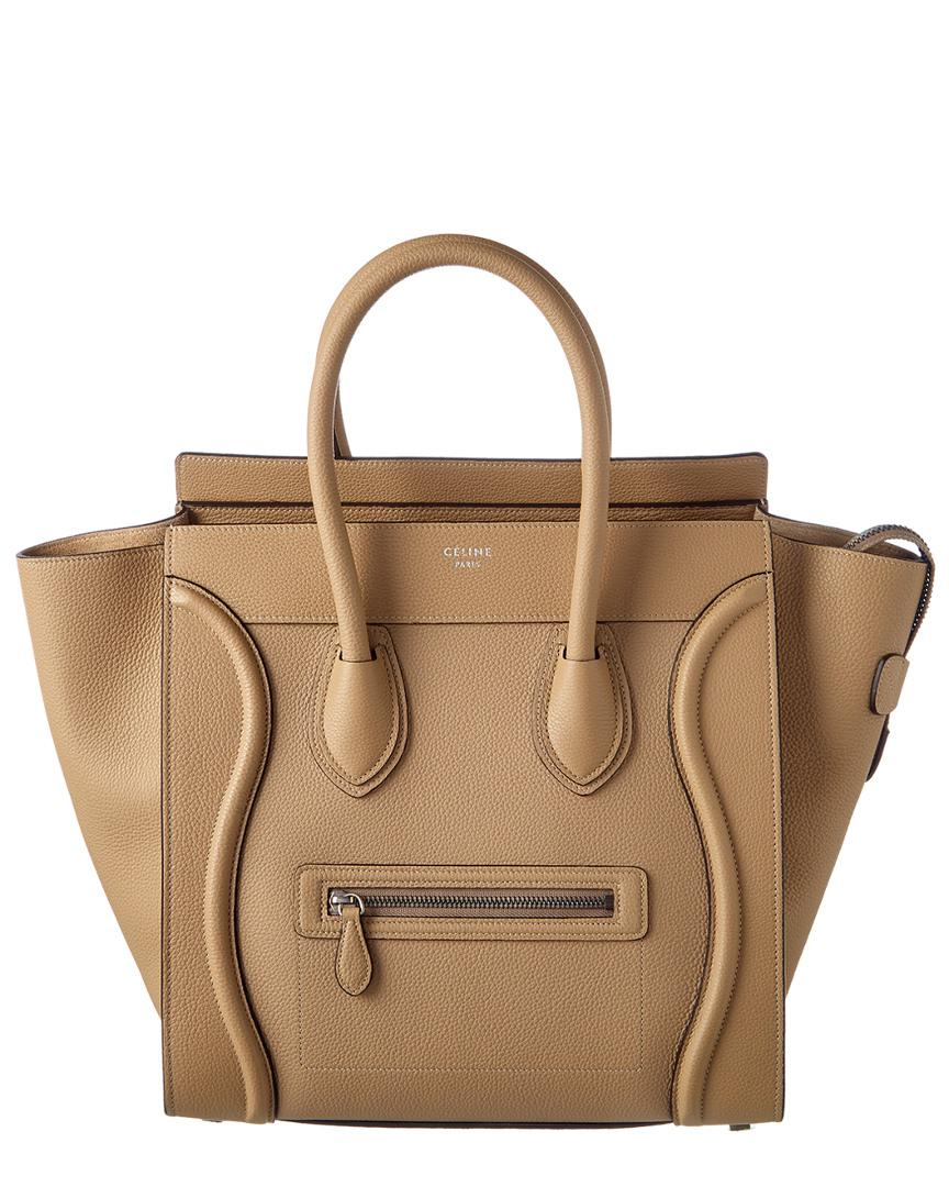 6d4dc0246dec Céline Mini Leather Luggage Tote in Natural - Lyst