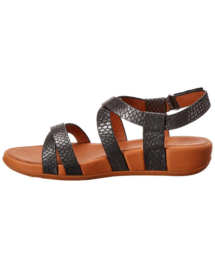 86a47d25d782 Lyst - Fitflop Lumy Shimmersnake Leather Sandal in Gray