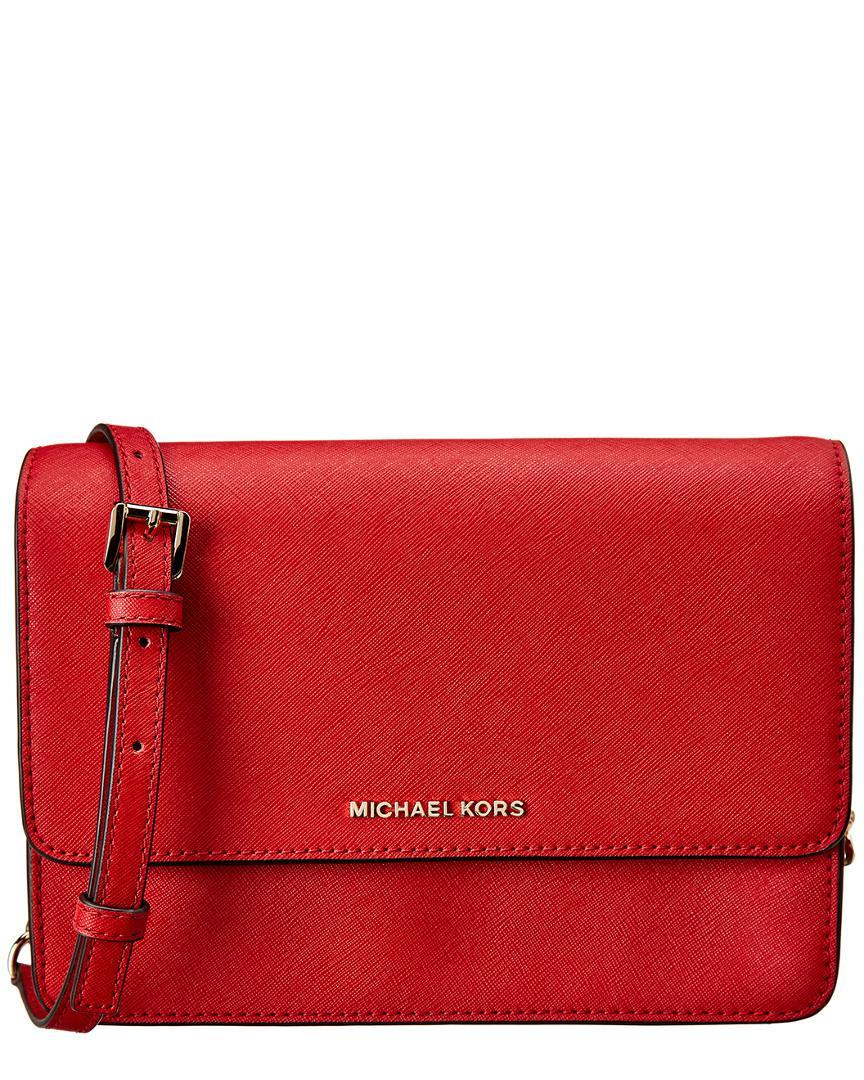 142d36d05ee2 MICHAEL Michael Kors. Women's Red Daniela Large Gusset Leather Crossbody