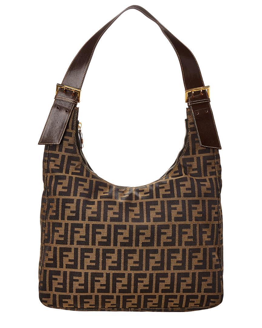 eaeb89e2db00 Fendi Brown Zucca Canvas Hobo Bag in Brown - Lyst