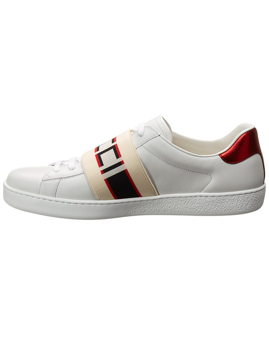 6d627d2f9 Gucci Stripe Leather Sneaker in White for Men - Lyst
