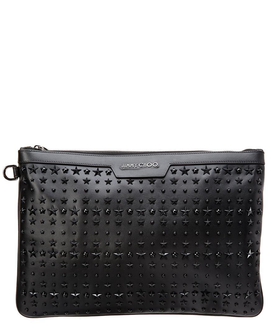 cf5ab2b4fc50 Lyst - Jimmy Choo Derek Star-embellished Leather Document Holder in ...