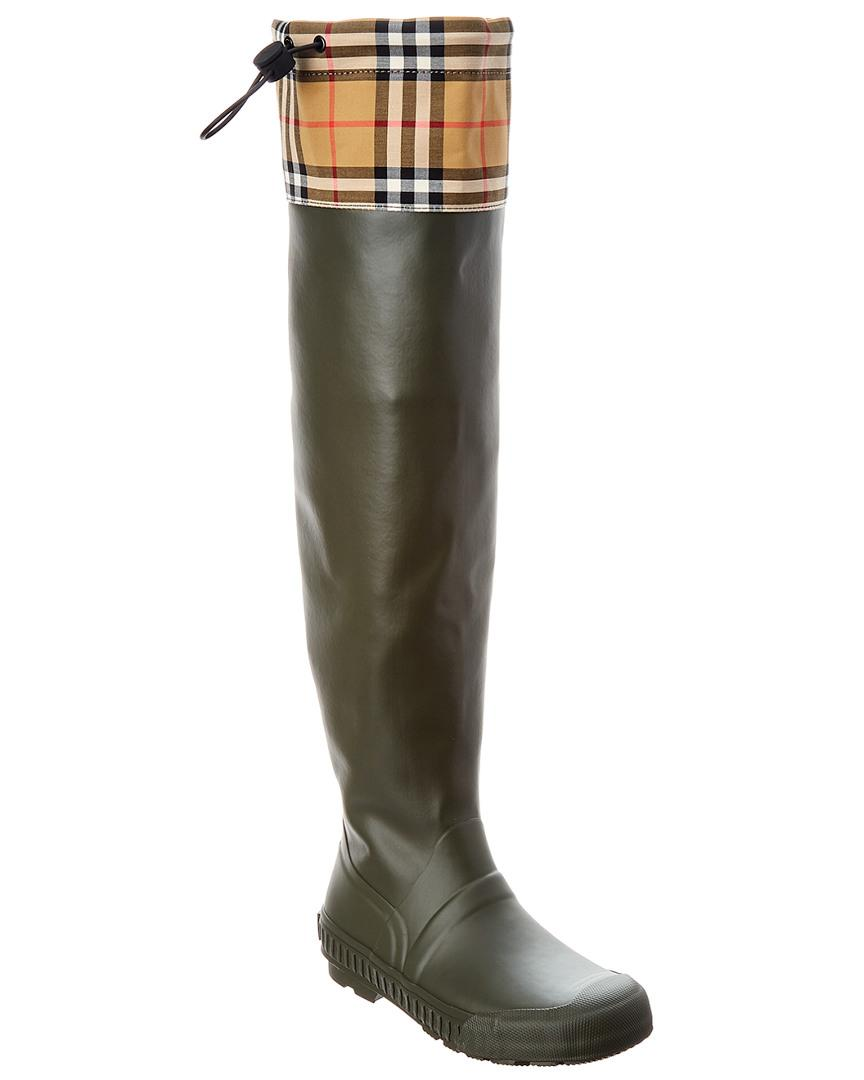 141c8a1ecf83 Lyst - Burberry 20mm Freddy Rubber   Check Boots in Green - Save 20%