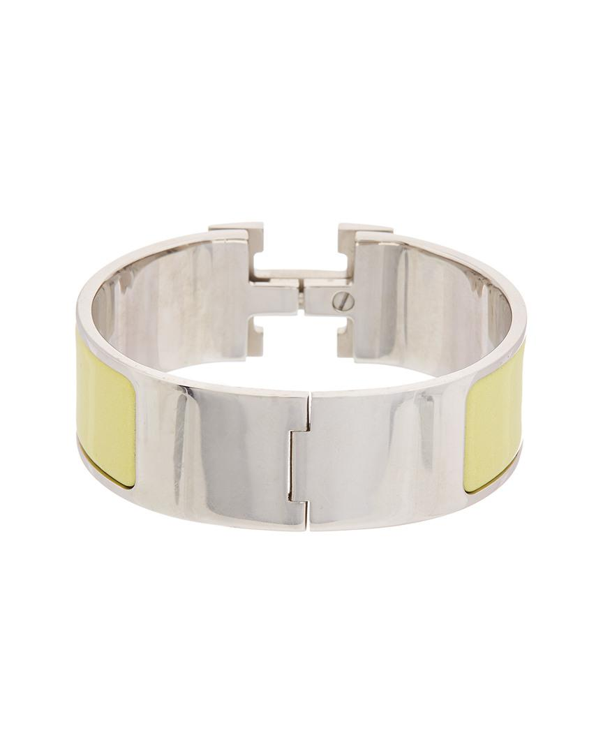 a1b14360fc4 Lyst - Hermès Yellow & Palladium Wide Clic-clac H Bracelet in Metallic