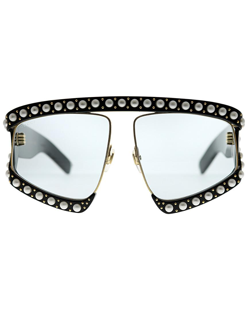 b25789ae6b Gucci Faux Pearl-embellished Sunglasses in Black - Save 34% - Lyst