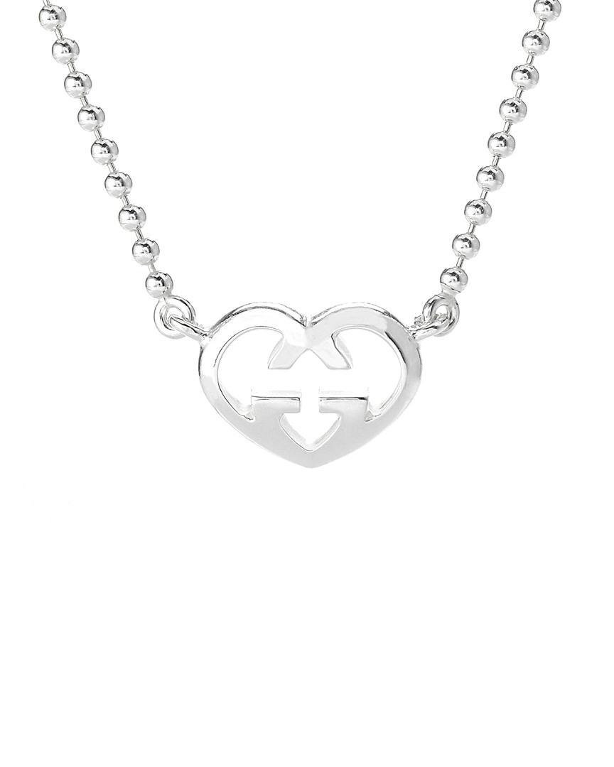 800bcef52 Lyst - Gucci Love Britt Silver Necklace in Metallic