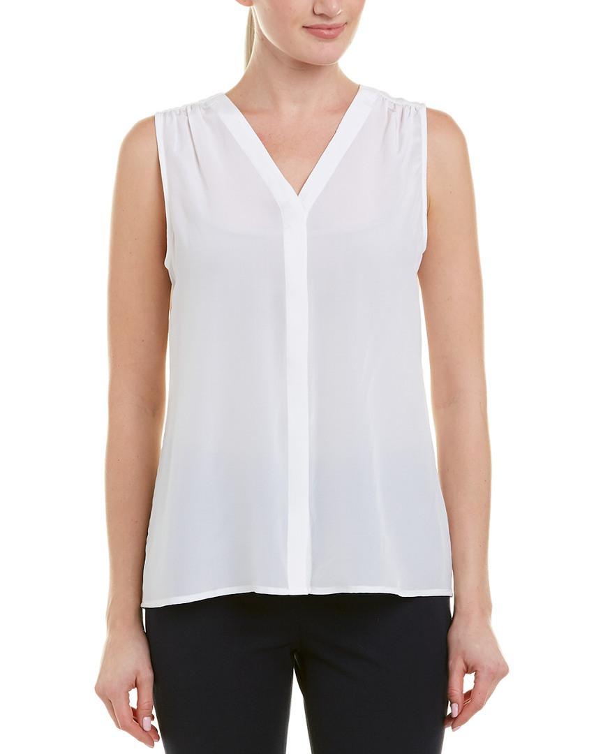 b4f88b3840461 Lyst - Ecru Silk Top in White