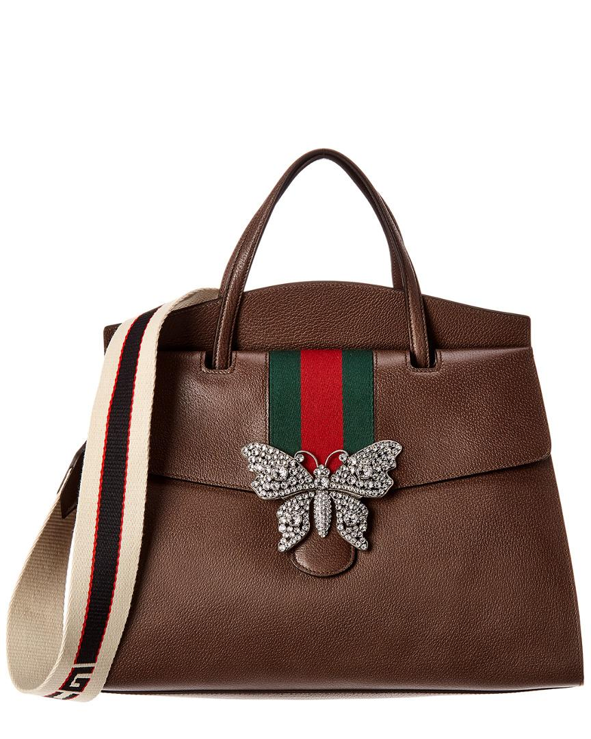 cc965dac7415 Lyst - Gucci Totem Large Leather Top Handle Tote in Brown