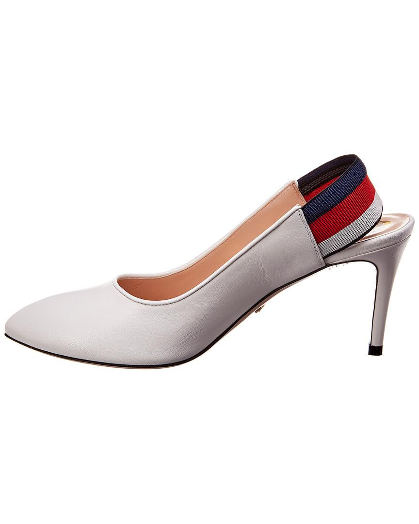 4c71e180f7bd Lyst - Gucci Sylvie Web Leather Slingback Pump in White