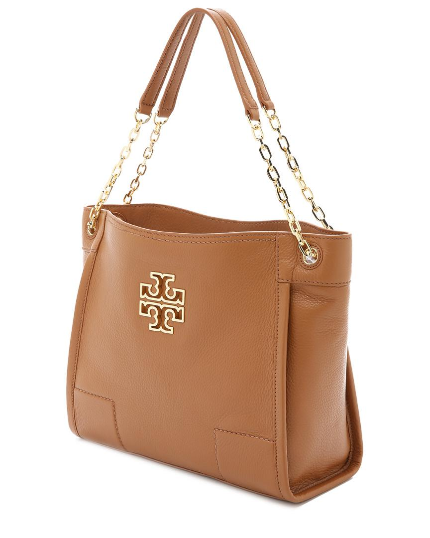 ac3085f59b1 Tory Burch Britten Small Slouchy Leather Tote In Brown Lyst