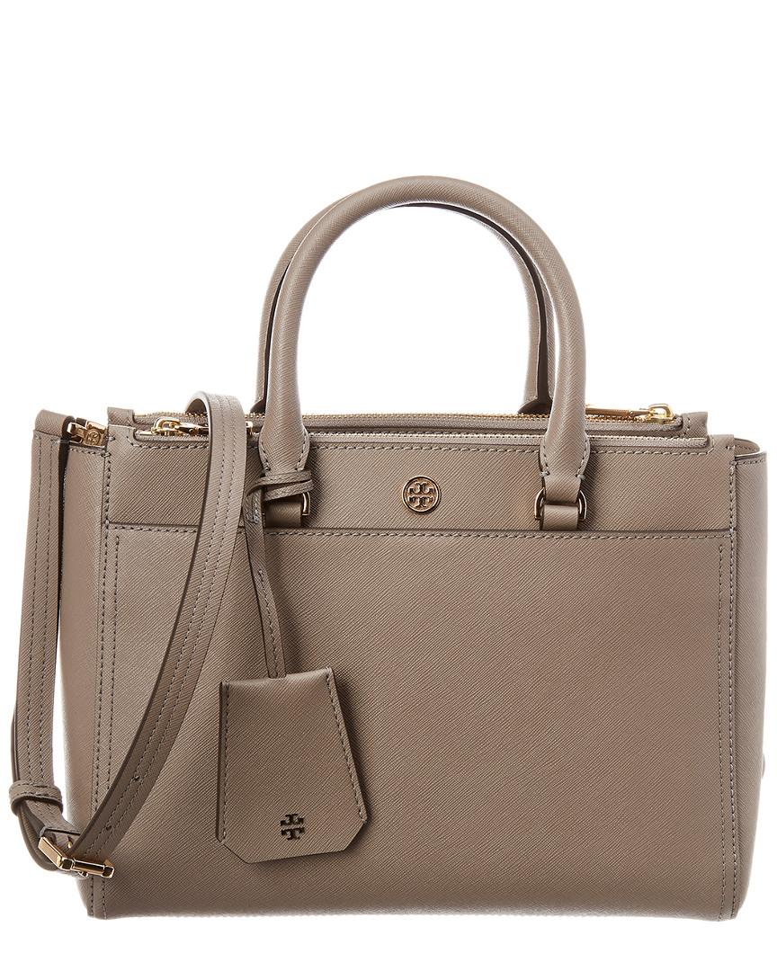 54118e92d982 Lyst - Tory Burch Robinson Small Double Zip Leather Tote in Gray