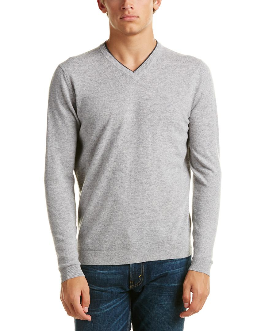 Kinross cashmere Forte V-neck Cashmere Sweater in Gray for Men ...