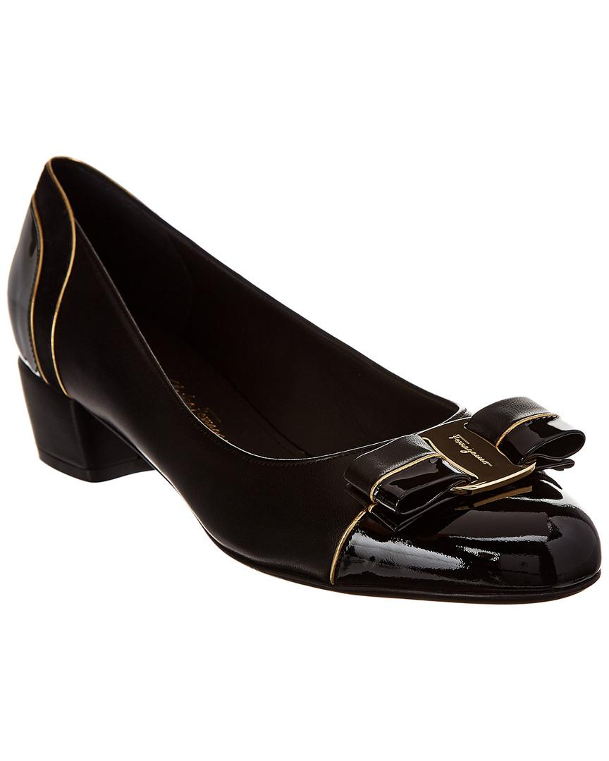 ee6c896fec3 Lyst - Ferragamo Vara Bow Leather Pump in Black