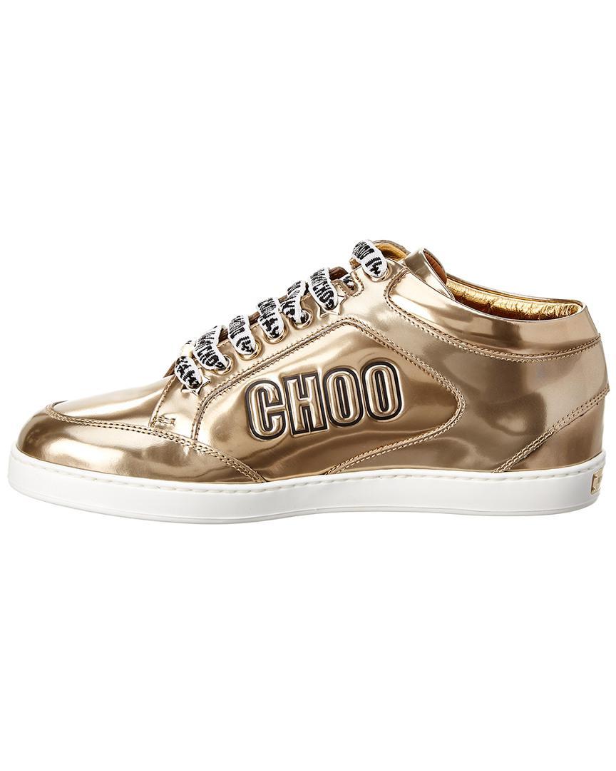 e656eae61ba3 Jimmy Choo Miami Logo Metallic Leather Sneaker in Metallic - Save  0.13642564802182733% - Lyst