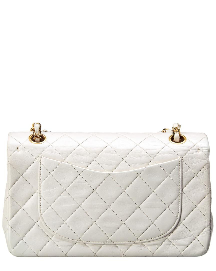 e930e5feb00b Lyst - Chanel White Quilted Lambskin Leather Medium Double Flap Bag in White