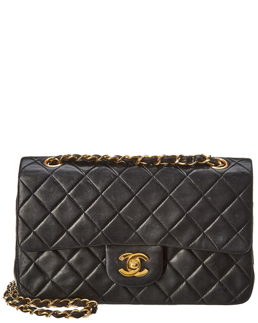 Lyst - Chanel Black Quilted Lambskin Leather Small Double Flap Bag ... fc62e03f89
