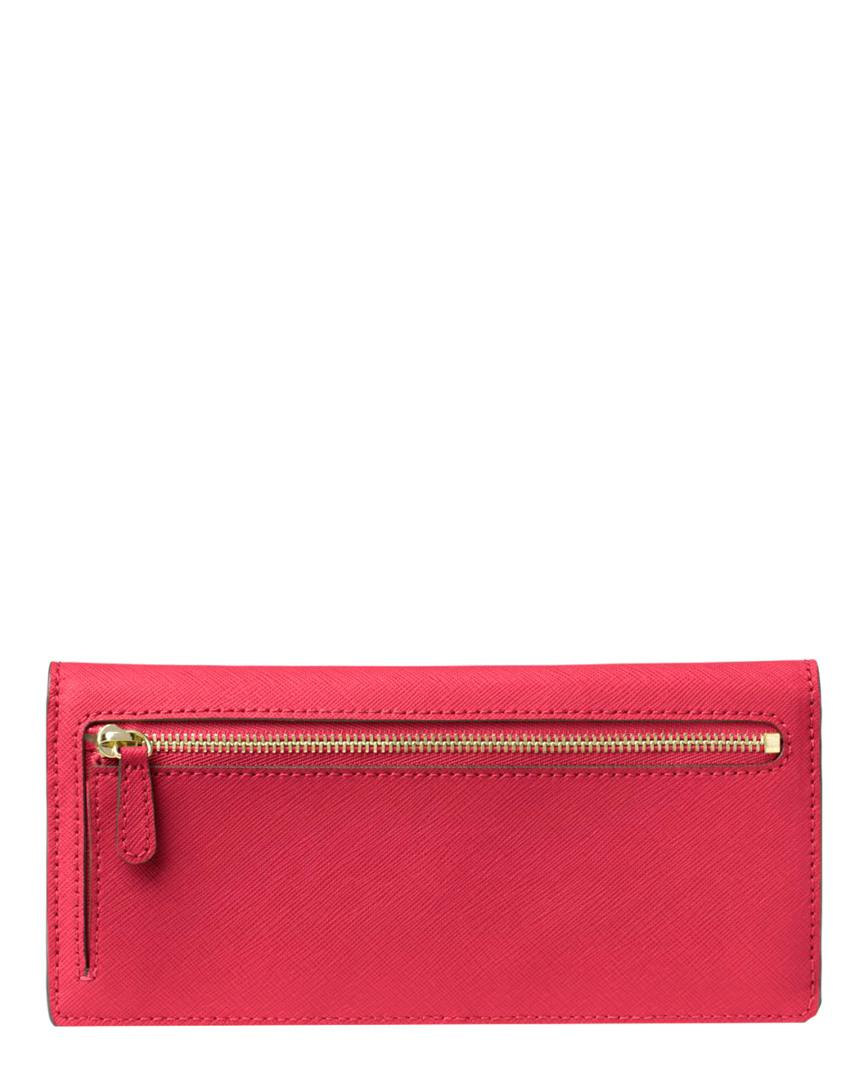 5bcb1cfa3ede Lyst - Michael Michael Kors Jet Set Leather Continental Wallet in Pink