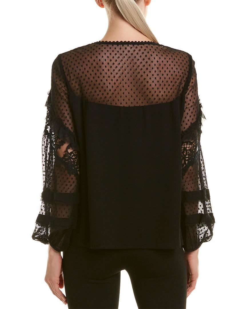68aad161bf7c23 Nanette Lepore Silk Top in Black - Save 54% - Lyst