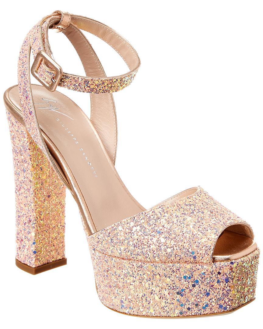 081f0783ba9 Lyst - Giuseppe Zanotti Betty Glitter Leather Sandal in Natural