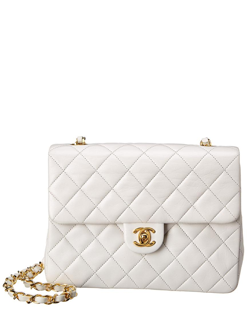 d8cd159f2399bc Lyst - Chanel White Quilted Lambskin Leather Small Half Flap Bag in ...