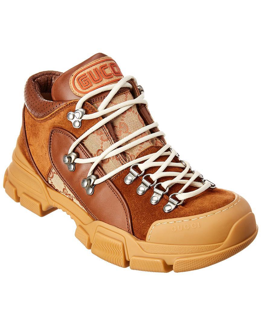 b20af5415ae9 Gucci - Flashtrek GG High-top Sneaker In Brown for Men - Lyst. View  fullscreen