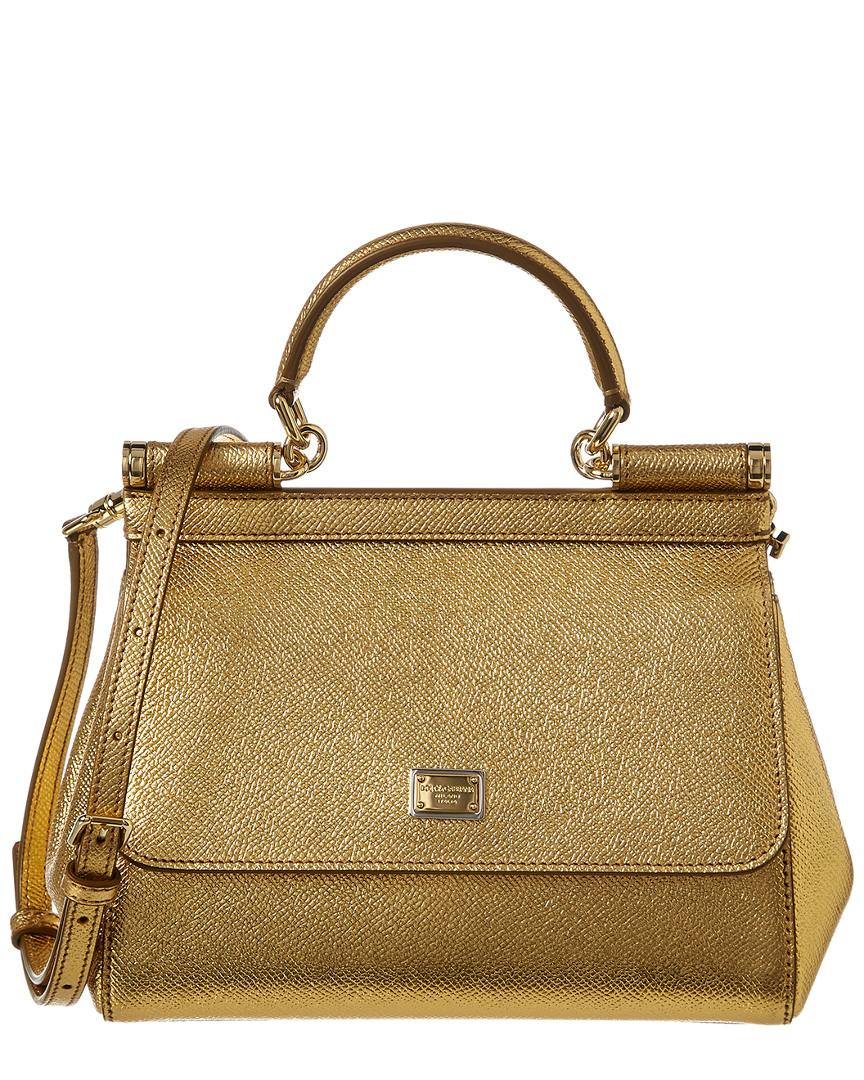 2f6610d0ce Lyst - Dolce   Gabbana Small Sicily Leather Satchel in Metallic ...