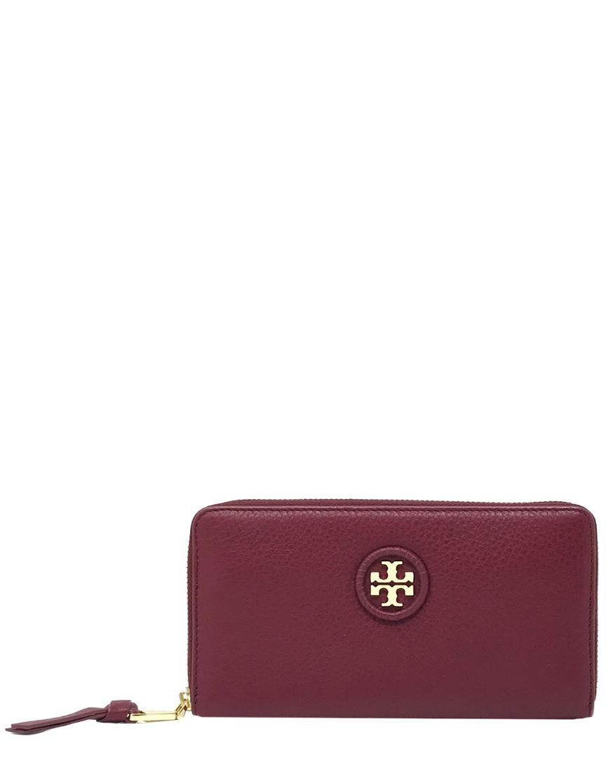 fbfe2c62ac3a Tory Burch Whipstitch Leather Logo Continental Wallet in Red - Save ...
