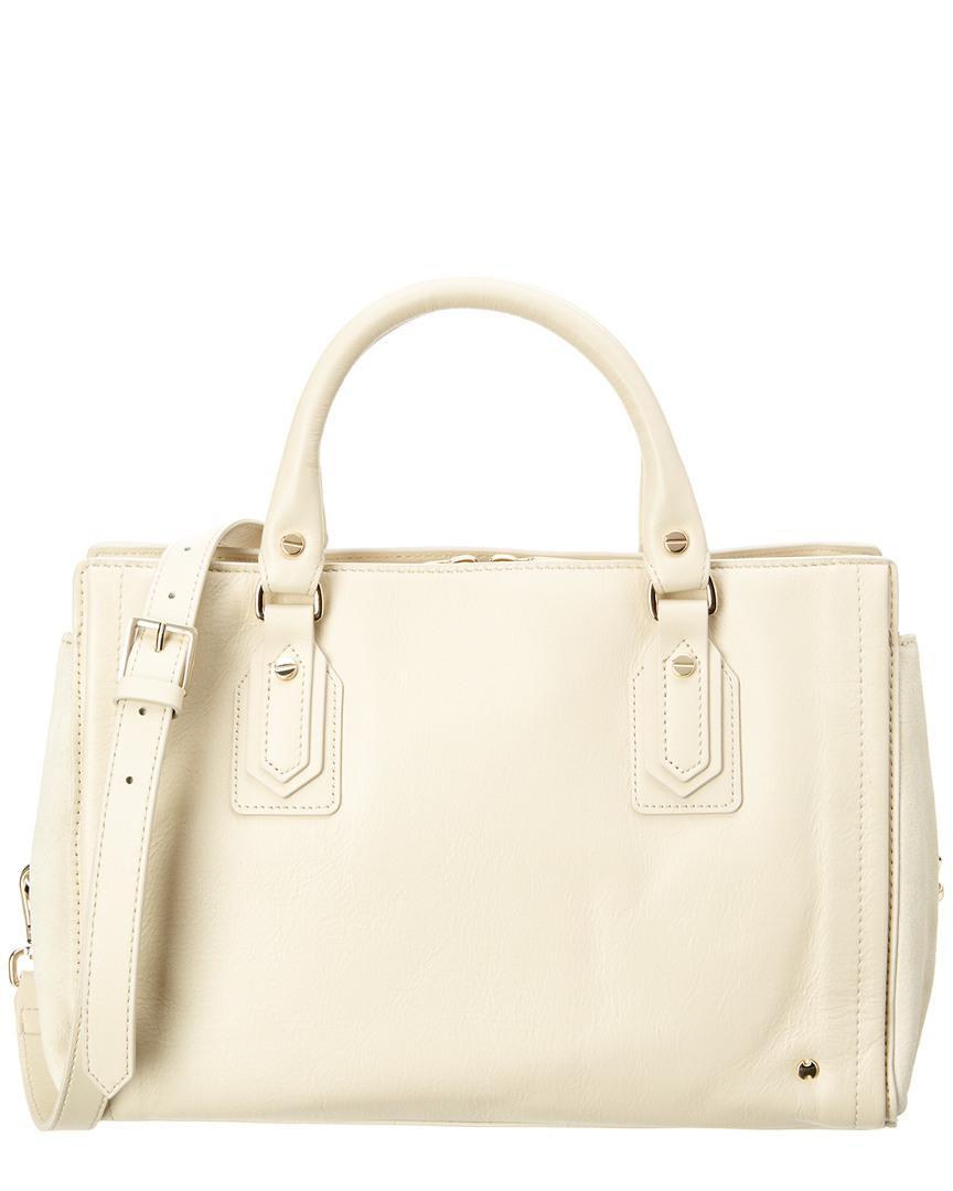 5422e29edf54 Lyst - Halston Speedy Leather   Suede Satchel in White