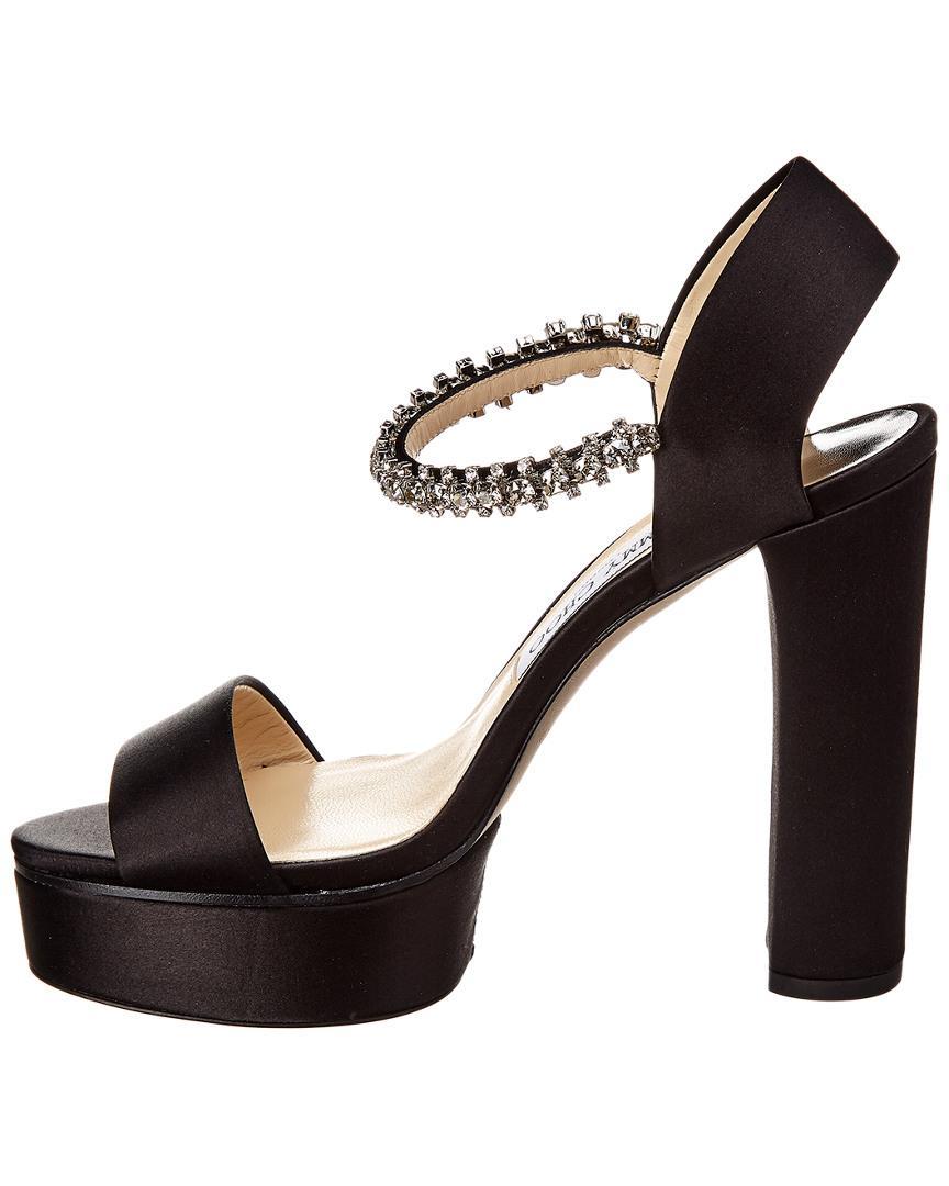 04cb5c5205a Lyst - Jimmy Choo Santina 125 Satin Plataform Sandal in Black