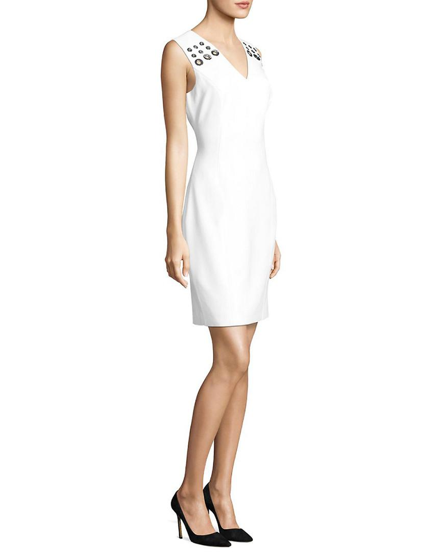 f7a95b0b Elie Tahari Monica V-neck Dress in White - Save 12.807881773399018 ...