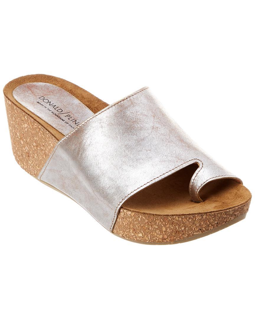 4edd654457f Lyst - Donald J Pliner Ginie Leather Wedge Sandal in Metallic