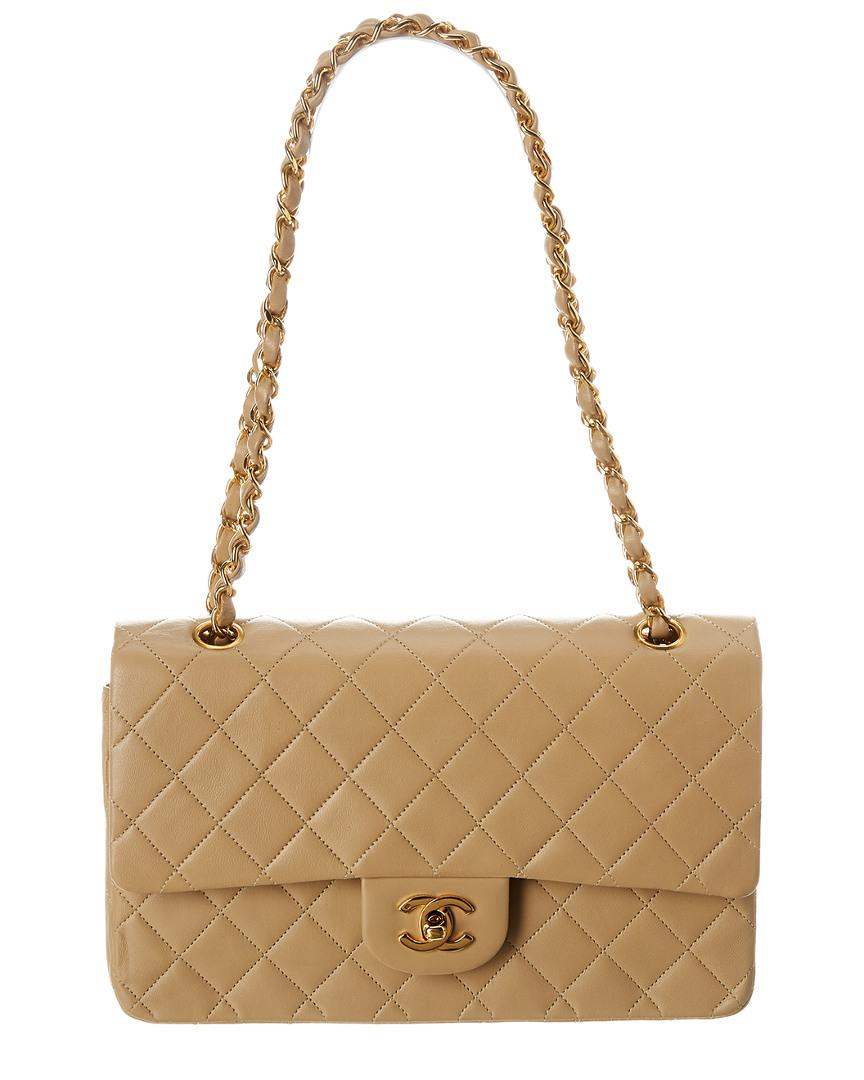 b70b7e1e660f Chanel. Women's Natural Beige Quilted Lambskin Leather Medium Double Flap  Bag