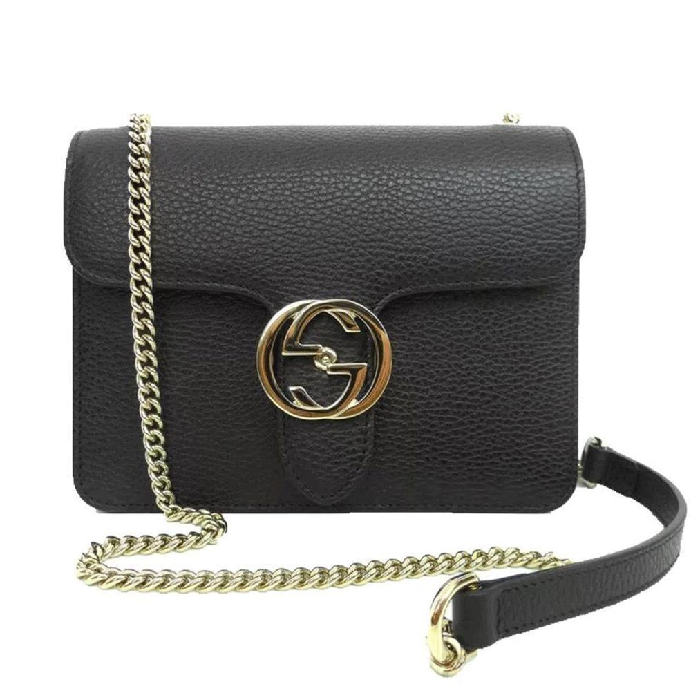 3196e2fe57e Gucci - Black Leather Marmont Interlocking GG Crossbody Bag - Lyst. View  fullscreen