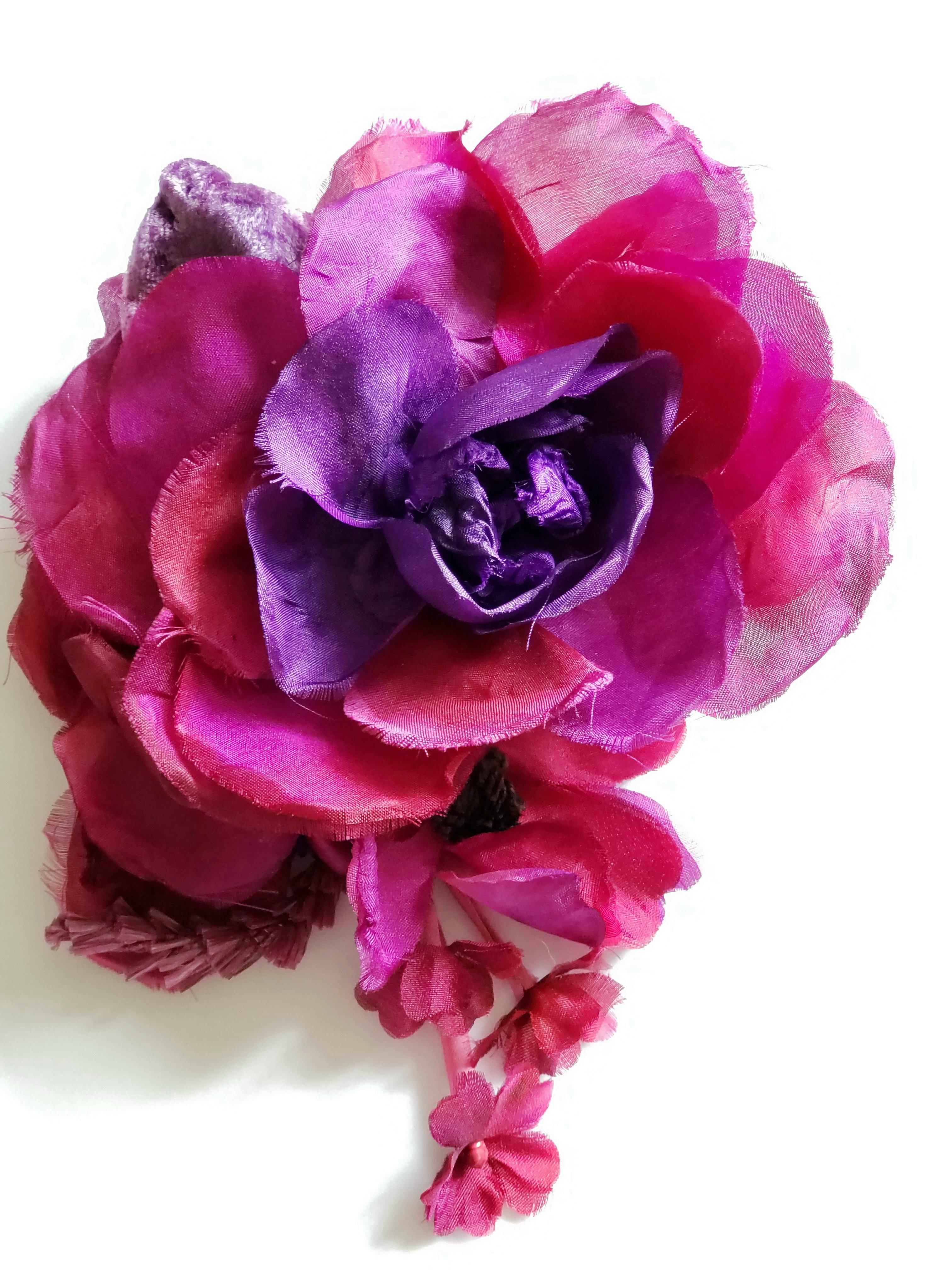 Lyst gucci silk flower brooch gucci multicolor silk flower brooch lyst view fullscreen mightylinksfo