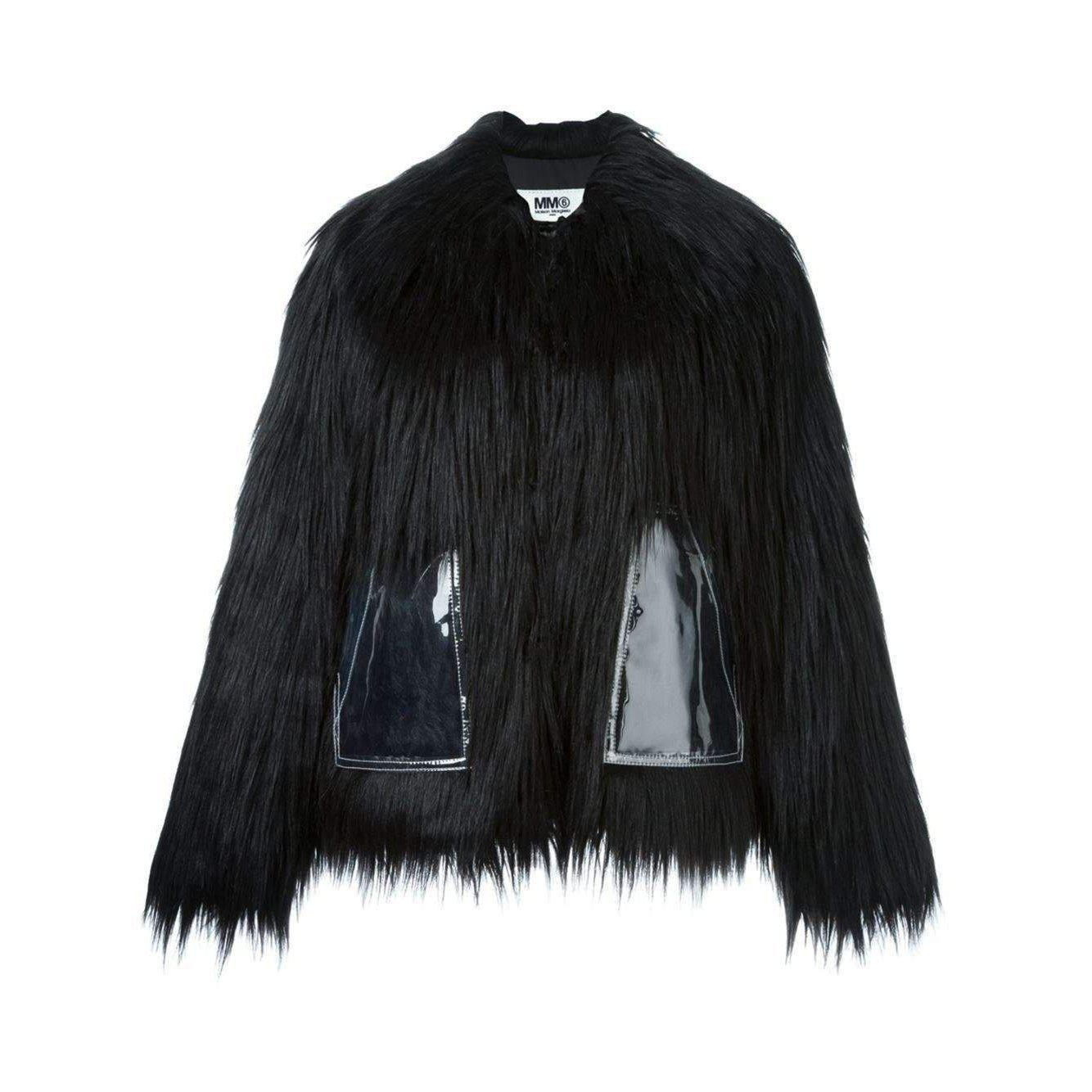 Lyst - MM6 by Maison Martin Margiela Black Faux Fur Jacket in Black 4cc6c65c3f305