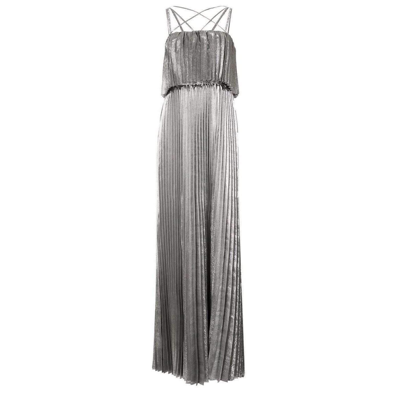 147788ef17b Zac Posen Ashley Spaghetti Tiered Silver Gown in Metallic - Save 73 ...