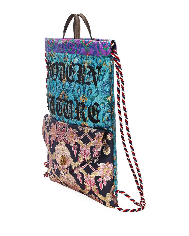 d4d9d11cc82d Lyst - Gucci Modern Future Brocade Drawstring Backpack