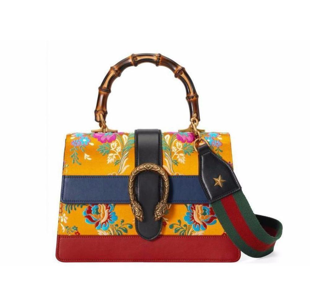 a963b6bf3 Gucci Dionysus Medium Yellow Jacquard Bamboo Top-handle Bag - Lyst