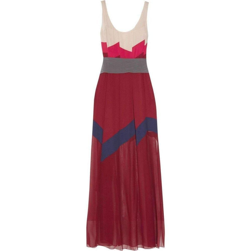 5415b3030d BCBGMAXAZRIA. Women s Red Bcbg Maxazria Runway Bon Voyage Color Block Silk Maxi  Dress