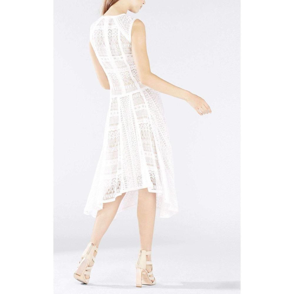 c52ddf06a9f BCBGMAXAZRIA - White Claudette Lace Blocked Scarf Hem Dress - Lyst. View  fullscreen