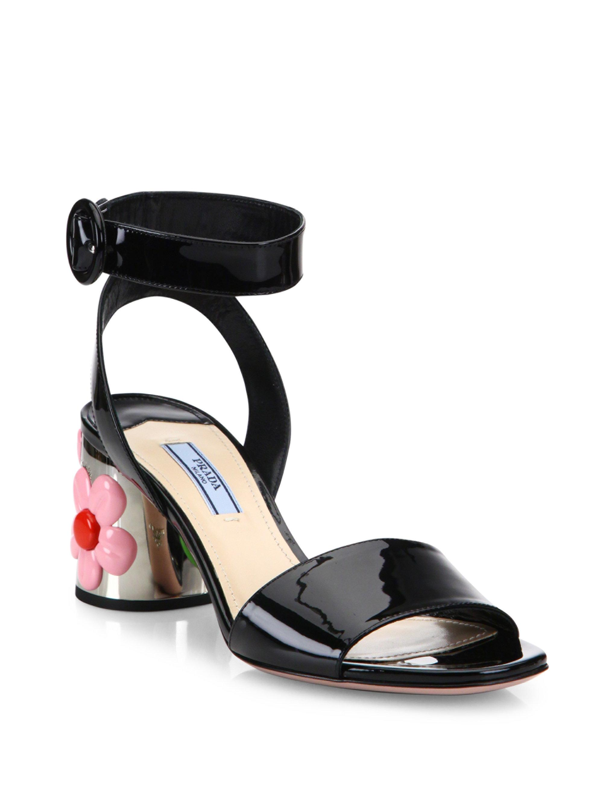 0c0fba844f16b9 Lyst - Prada Flower-heel Patent Leather Ankle-strap Sandals in Black