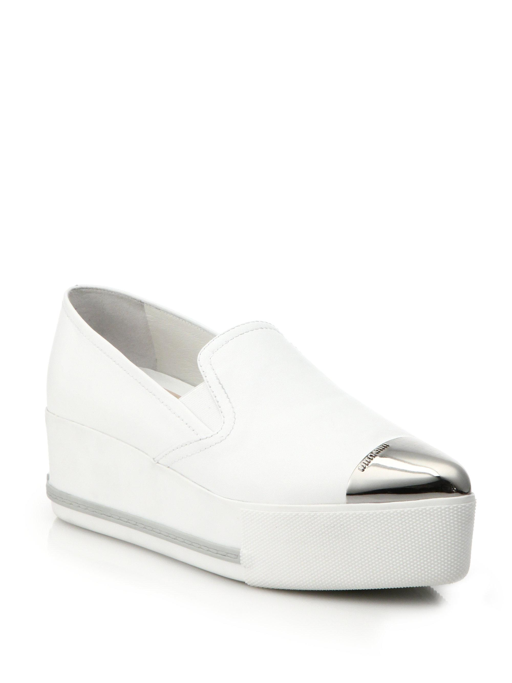 Miu Miu. Women's White Cap Toe Leather Platform Skate Sneakers