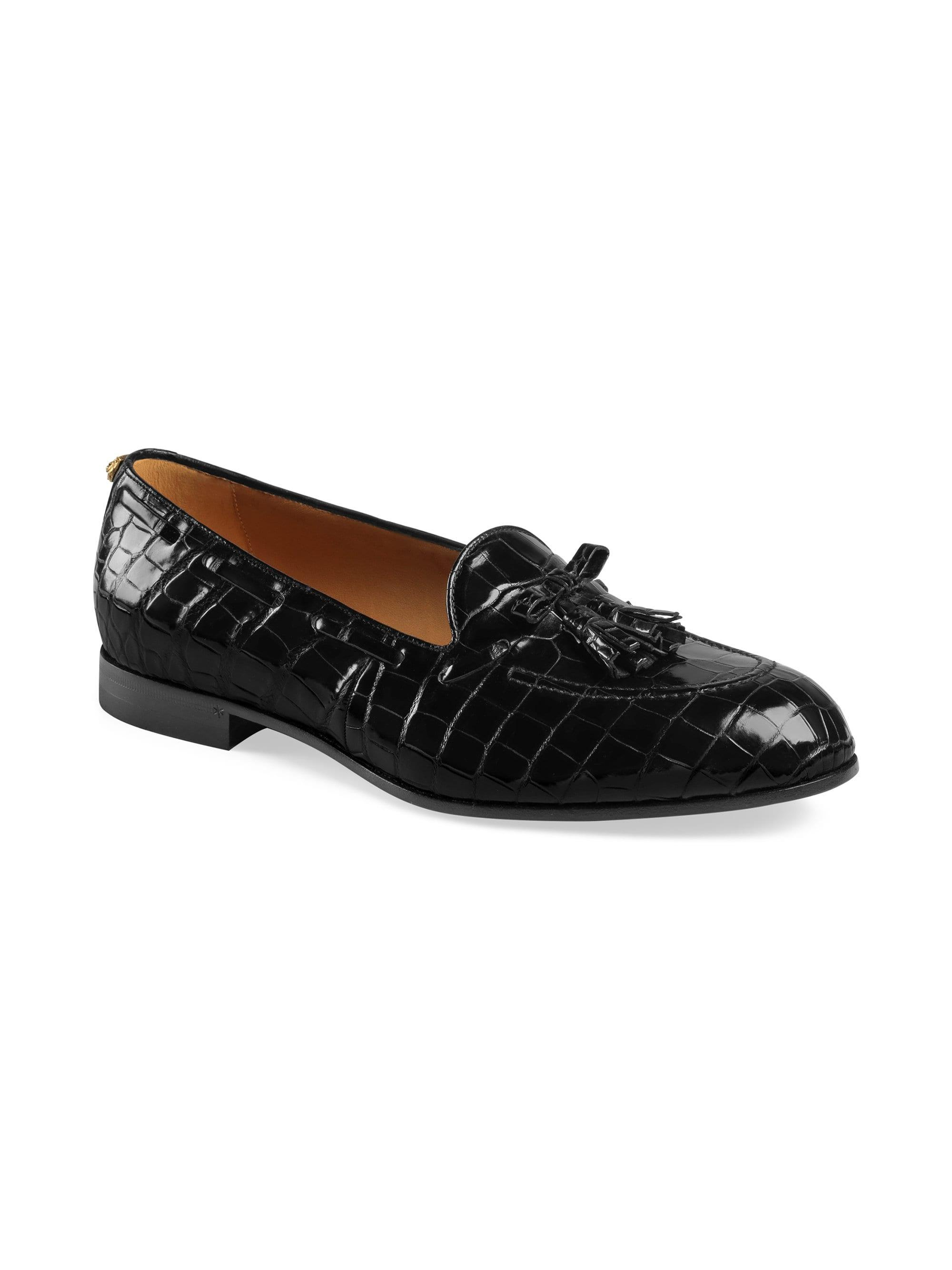 143dccf6f53 Lyst - Gucci Men s Crocodile Tassel Loafers - Black - Size 9.5 Uk ...