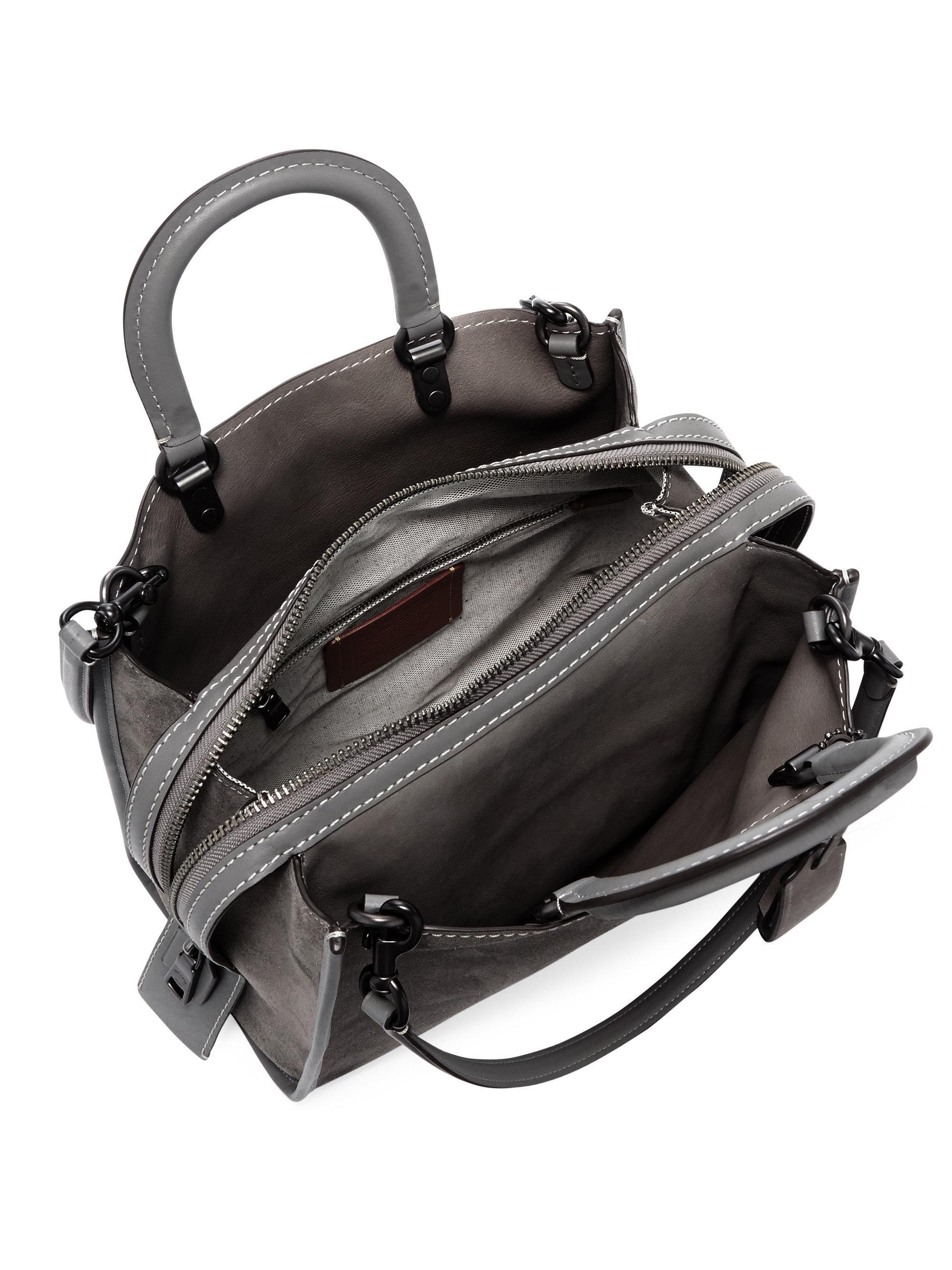 3f2f58766f0e Lyst - COACH Rogue Suede Shoulder Bag in Gray