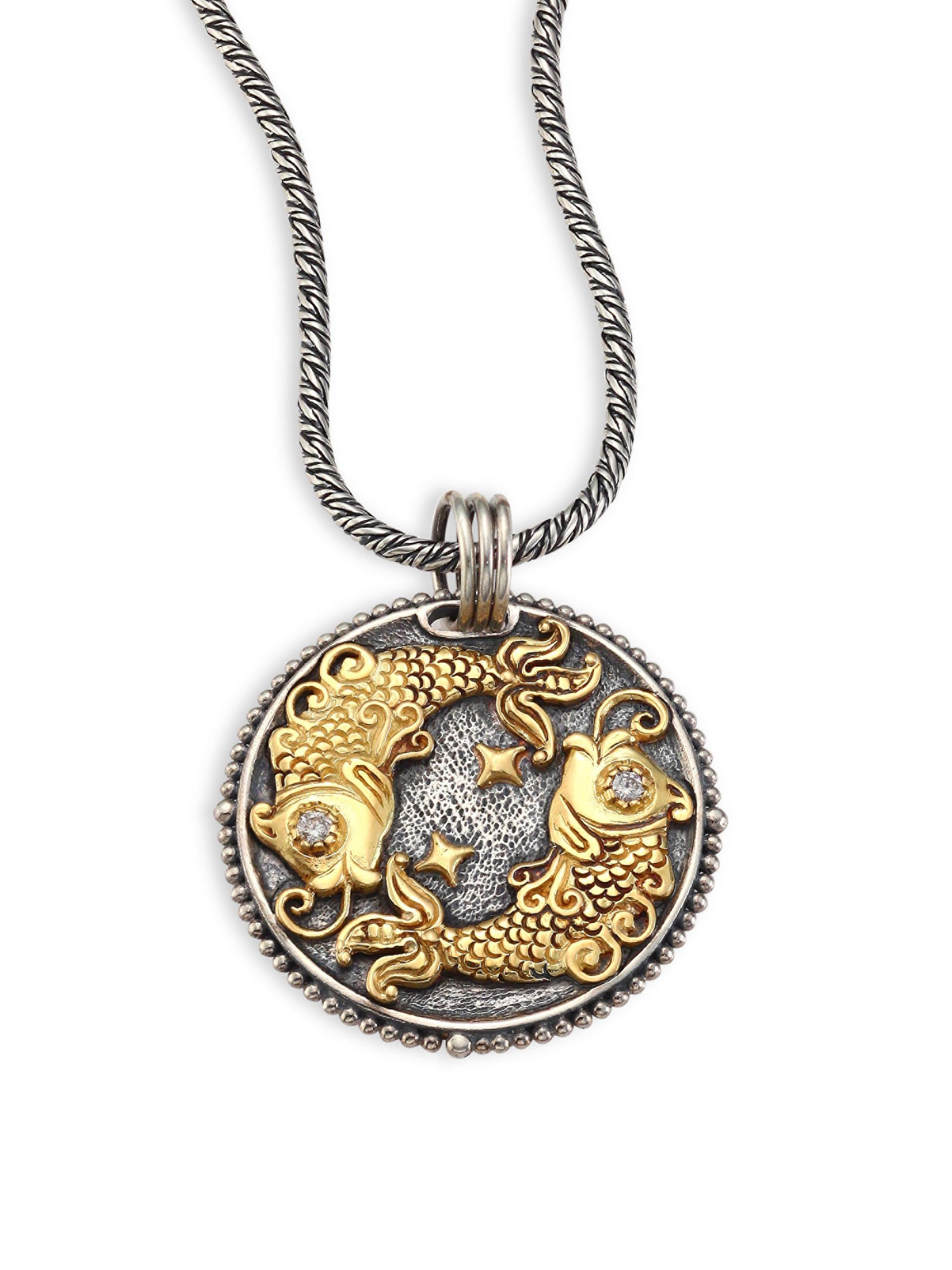 pendant sterling zodiac jewelry konstantino virgo silver gold aquarius